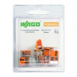 Клемма WAGO 2-х проводная 6шт в блистере 221-412
