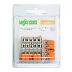 Клемма WAGO 5-ти проводная 6шт в блистере 221-415