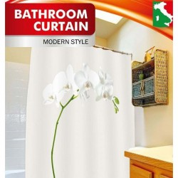 Шторка д/ванной Белая орхидея + набор колец PH54 200*210