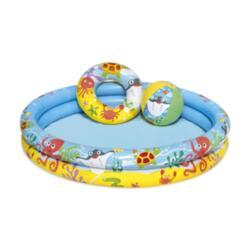 Бассейн надувной 122*20 см, 137 л, + круг + мяч bestway 51124