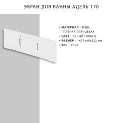 Экран для ванны IKA Адель 170х50 белый