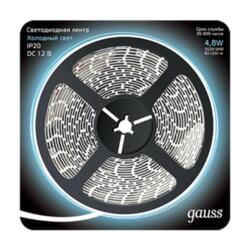 Лента Gauss LED 312000305 5м 2835/60-SMD 4.8W  12V DC холодный белый