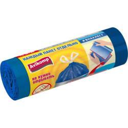Пакеты для мусора 35л 15шт #ВНАХЛЕСТ Prestige ПСД с завязками рулон overlap голубой 89871